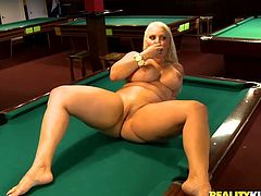 This Reality Kings sex clip will knock you off your feet. Spoiled blond haired chick forgets about billiard. She boast of big boobs and huge appetizing ass to seduce a dude. Then zealous nympho spreads legs wide right on the billiard table and fingers her pussy passionately for pleasure.