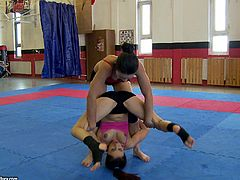 Two cute fit chicks are having some good time together. They have a catfight in a gym and then show their pussy-eating skills to each other.