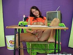 Brunette student Victoria masturbates instead of studying