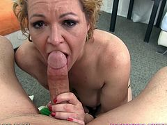 This old bitch is still a cock sucker, watch her as she proceeds to give head to this horny fucker and makes him bust a nut in her mouth!