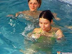 Spoiled Russian teens have fun in sauna. They get into a warm pool where they start drilling each other's aroused pussies with fingers in perverse sex video by Seventeen Video.