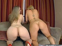 A couple of dirty fucking blonde sluts get their tight holes stuffed with hard cock in this hot threesome scene right here.