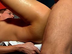 Blade Woods makes a move on his older shower friend Brian Davilla. They fuck in a steamy room, looking very sweaty.