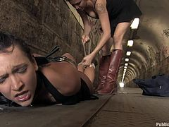 A submissive brunette bitch gets fucking fucked hard in this kinky bondage scene that takes place outdoors. It's humiliation time!