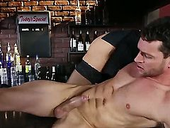 Big titted cutie Katie Kox enjoys riding on her man's long stiff cock on a bar counter