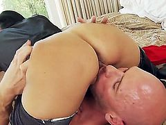 Busty, mature MILF Ava Adams uses her huge knockers to make her man cum a huge load