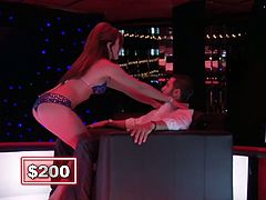 This game show features guys getting lap dances while trying to answer question for big money, but can this hunk Show Us Your Wits or fall flat on his face for the lap dancer.