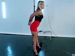 The submissive blondie gets tied up by the dominant blondie that shocks her private areas with electric current. Check it out!