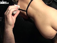 Fun Movies sex clip provides you with two pale slim whores. already naked blondie in black mask gets fixed with chains and sucks a dick like a real cock. Curly redhead with huge boobs waits for her turn and fat dude is ready to pin her nipples with some BDSM stuff. Just don't miss a chance to wank a bit along with Fun Movies sex clip.
