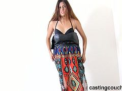 Watch this hot young teen Nala came for music video casting.She is really hot and shy.Checkout how she is convinced for some hot dance moves while stripping her clothes off and left only with her blue panties and black bra.