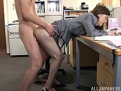 This petite and slender Japanese siren Yuria Ashina is going to have a hot sex in the office with her boss! All for more money!