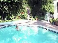 Two luscious Russian teens hook up in the pool. They start mauling each other's cuddly bodies before and kissing in lips with passion in peppering lesbian sex video by Fame Digital.