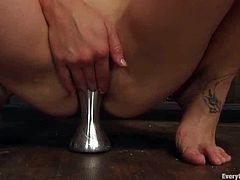 Well, she is stuffed in a different meaning of the word. Babe starts warming up her muff and asshole with her hands and then plays with some thick toys!