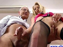 Young european bitch gets ravaged by old man and she loves it