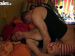 Luscious brunette bitch with big succous boobs wearing stripped stockings is getting nailed hard in a missionary position in public. Dirty Fun Movies porn clip.