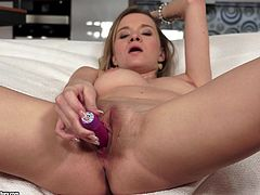 Angel Piaff Inserting a Dildo in Her Snatch in Solo Masturbation Vid
