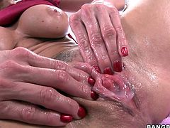 Kendra loves a good hard fuck but she likes getting cum on her pink pussy even more! The lovely brunette whore bends over and then keeps her thighs spread as the guy drills her rough with his massive dick. After all that hard fucking the bitch gets a big load of cum inside her pussy and now she plays with it.