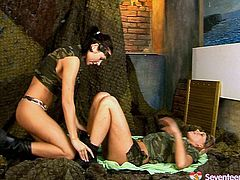 Two combative Russian lesbians in military-styled outfits hook up after hard exercising. They rip off each other's clothes before eating shaved tasty cunts in peppering sex clip by Seventeen Video.