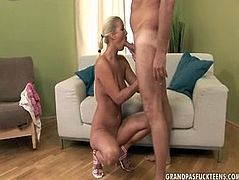Tall blonde model flashes her titties to mature dude sitting on his laps. Then she gets her cunt fingered and licked actively. Later she gets on her knees to give perverted dude deepthroat blowjob.