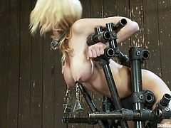 A super hot slut with big tits and cute face gets trapped by bondage devices in this very kinky bondage scene right here! Check it out!