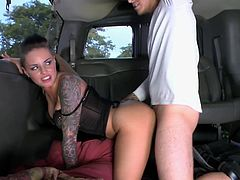 Hot pornstar Christy Mack looking hot with her particular style and her tattoos hops on the fuckmobile and gets it going with the guys. Fuck yeah!