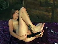 Kinky brunette girl undresses and then fists her ass standing on all fours. After that she also uses big dildos.