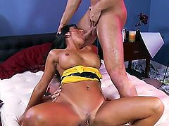 Tanned dark haired milf Lezley Zen with round fake tits in cheep yellow dress gives head to Danny Mountain and Keiran Lee and gets rammed balls deep in bedroom in wild threesome.
