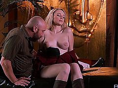 Sexy blonde babe fucked really hard by bald guy