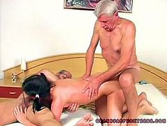 Weird ugly and pale brunette with pigtails suck two old cocks for sticky sperm