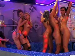 It's a time for crazy hardcore party produced by Tainster porn site. A big number of nude girls go wild on the club stage. Enjoy hussy drunk sluts for free.