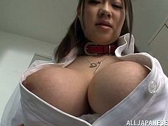 Sayuki Kanno is getting ready for class when she sees one of her fellow teachers in the locker room. She sucks on his fingers and lets him undo her blouse so he can put his hands on her big round boobs. He begins to open her bra so stick around for more!