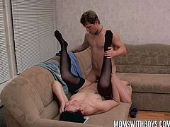 This horny granny is wearing sexy stockings and she is about to get her old cunt destroyed by an younger dude with stiff cock!