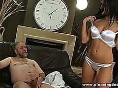 This lucky old fart gets to fuck his super hot young trophywife Angelica Kitten