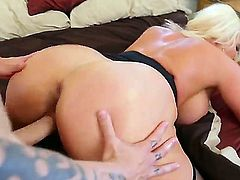 Hot blonde MILF cougar seduced a college guy and opens up her wet pussy and huge ass for a fuck