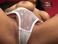 Smoking hot naughty black haired bombshell Laura Lion with tight sweet ass in white undies only teases with huge jaw dropping hooters and starts polishing wet honey pot in close up.