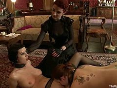Bella Rossi and Cherry Torn get humiliated by mistress Liliane Hunt. Tied up girls stand on their knees sucking a strap-on.
