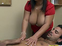 Naughty Latin chick with huge natural boobs gives a massage to a guy and then gets titty fucked. Later on she gets fucked doggystyle.