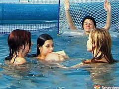 Spoiled brunette amateurs get into the pool filled with hot water fully naked to play a water polo. Later they fully plunge under water in perverse sex clip by Seventeen Video.