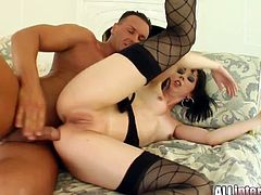 Milka is a fair skinned French slut. She takes cock and sperm in her ass hole from both these guys.