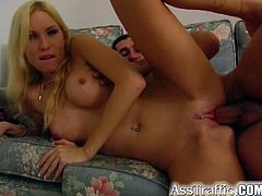 Sweet blonde loves feeling her shaved ass getting nailed in superb anal session