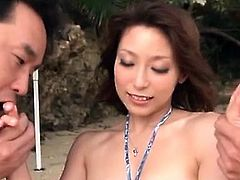 Asian stunning babe joining two guys for an outdoor 3some