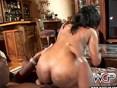 Bootyful black whore bends over a couch to welcome a crazy fuck from behind in doggy style before she rides a horny dude in reverse cowgirl style in sultry sex video by WCP Club.