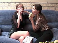 Drunk girls dance and strip in hot lesbian video