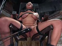 This is a breathtaking BDSM action with a juicy blond angel Lacey Jane. She gets bondaged on the chair and then penetrated by the machine!