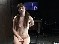 A dirty cum slut gets restrained with machines and toyed with in this kinky bondage scene right here, check it out! It's free!