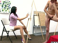 This female art class has three guys posing for the girls to paint them. It was only a matter of time they ditched the brushes and grabbed the dicks.