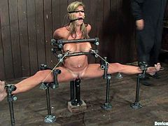 What an amazing and wonderful blondie is being tortured in this scene! She gets naked and gets trapped in the bondage device, getting her nipples tugged with twitches!