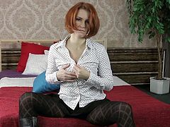 Redhead Sylvana is a mature that knows what she wants. She still looks damn fine and has a lot of experience when it's about men. Sylvana slowly takes off her clothes in front of the camera and plays with her boobs before inserting her hand in her pantyhose. Check out those lustful looks she gives!