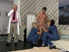 Three beautiful girls Blanche Bradburry, Cherry Kiss and Mira Sunset wearing white stockings are having a good time with a lucky dude. They favour him with a blowjob and then jump onb his schlong by turns.