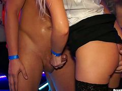 One drunk guy lifts up skirt of sexy blonde in stockings and drills her pussy in doggy style in the club. A lot of hussy whores get fucked too. Enjoy dissolute party for free.